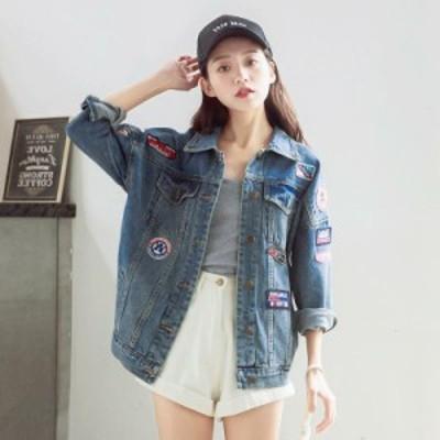 ジャケット デニムジャケット デニム 襟付き 大きいサイズ オーバーサイズ ビッグシルエット ゆったり ワッペン シンプル スト