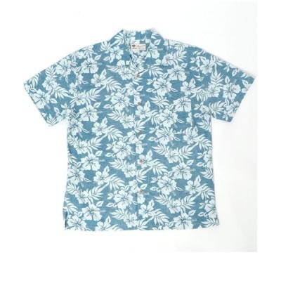 【大きいサイズのマルカワ】 大きいサイズ 綿 アロハシャツ 開襟シャツ メンズ エメラルドグリーン 5L MARUKAWA