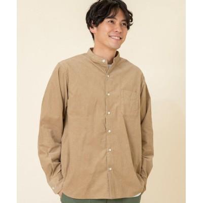 【コーエン】 テキサスコットンコーデュロイバンドカラーシャツ メンズ BEIGE LARGE coen