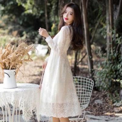 予約商品 大きいサイズ レディース 結婚式 二次会 花柄刺繍レース Vネック ドレス ワンピース オーバーサイズ 韓国ファッション ビッグサ