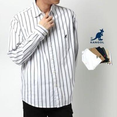 カンゴール シャツ メンズ 送料無料 KANGOL 春 ワンポイント ロゴ 刺繍 長袖 ホワイト/ベージュ/ネイビー M/L/LL