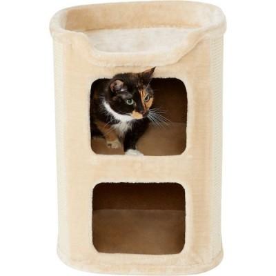 Frisco フリスコ ペットグッズ 猫用品 ベッド・マット・カバー 24-in 2-Story Faux Fur Cat Condo, Cream