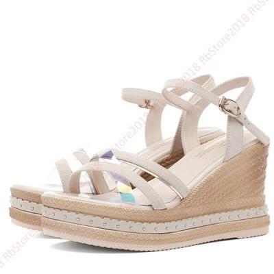 サンダル 厚底 ウェッジソール レディース ウェッジソール ウェッジサンダル 夏 厚底 サンダル 歩きやすい靴 アンクルストラップサンダル シューズ  疲れにくい