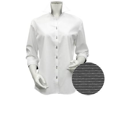 レディース ウィメンズシャツ 七分袖 形態安定 スキッパー衿 白×チェック織柄 (透け防止)
