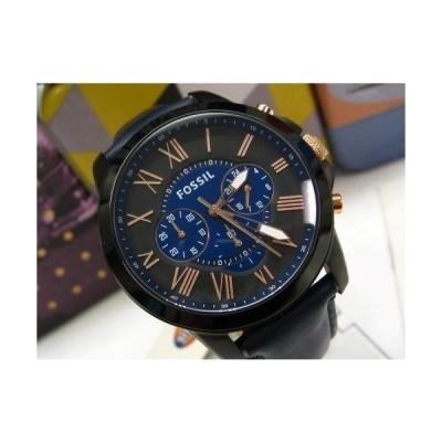 フォッシル 腕時計 FOSSIL レザー バンド GRANT ブルー ブラック マルチファンクション クロノグラフ ダイヤル 腕時計 FS5061