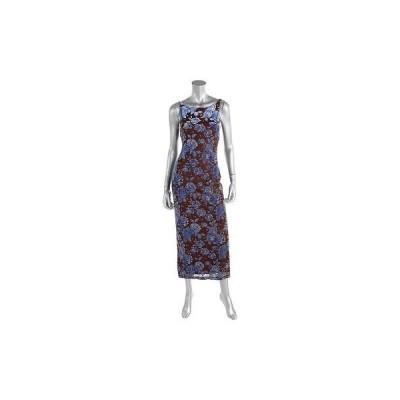 ドレス 女性  エックスオーエックスオー XOXO 3998 レディース ブラウン フローラル ベルベット ノースリーブ Full-Length カジュアル ドレス M
