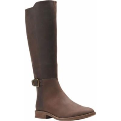 クラークス レディース ブーツ・レインブーツ シューズ Women's Clarks Camzin Branch Knee High Boot Dark Brown Leather