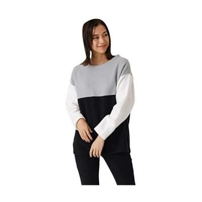 [アズールバイマウジー] tシャツ BI-COLOR PANEL TOP 250DSH80-020I レディース (柄グレー M)