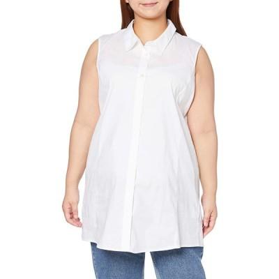 [セシール] チュニック ノースリーブチュニックシャツ プランプ 大きいサイズ シンプルデザイン お尻が隠れる丈 レディース MW-2841 オフホワ