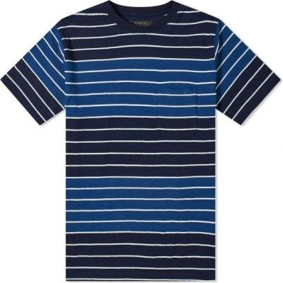 ビームス プラス Beams Plus メンズ Tシャツ ポケット トップス Indigo Stripe Pocket Tee Indigo