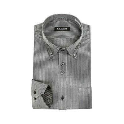 (U.P renoma/ユーピーレノマ)U.P renoma 長袖 ショートカラーワイドカラーボタンダウンワイシャツ/メンズ グレー