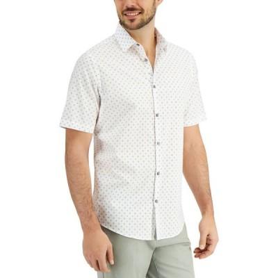 アルファニ Alfani メンズ シャツ トップス Dot Print Shirt Bright White
