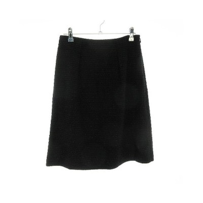 【中古】リフレクト Reflect スカート フレア ひざ丈 総柄 9 黒 ブラック /CK レディース 【ベクトル 古着】
