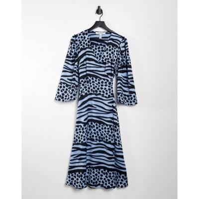 リクオリッシュ レディース ワンピース トップス Liquorish midi wrap dress in blue animal print