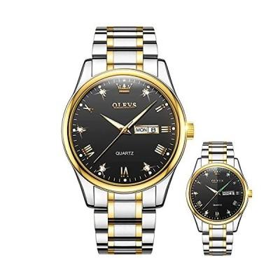 男性用腕時計 ステンレススチールバンド 日付表示 30m防水 夜光 カジュアル ビジネス 大きな文字盤 読みやすいアナログクォーツ 男性用腕時計 ホワ