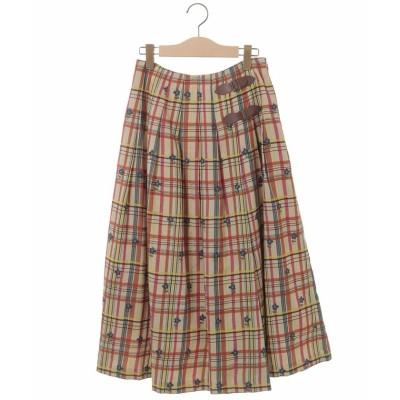【ホコモモラ】 Londres Check フラワー刺繍スカート レディース アイボリー L Jocomomola