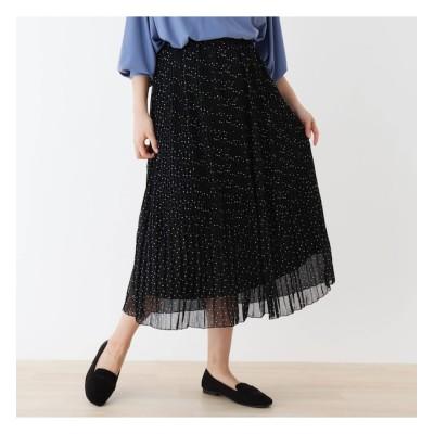 【シューラルー/SHOO・LA・RUE】 消しプリーツドットロングスカート