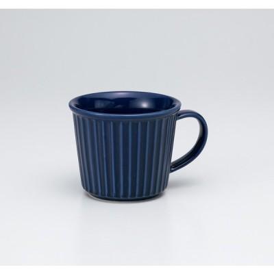 〔美濃焼 マグカップ〕紺レリーフマグ大