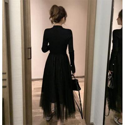 女性らしいシルエット トレンド 2019秋冬 新作 レーヨン 縫付 百掛け Aライン ニットワンピース 小さな黒いドレス