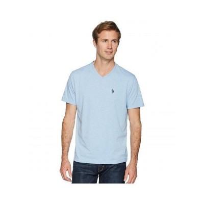 U.S. POLO ASSN. USポロ メンズ 男性用 ファッション Tシャツ Short Sleeve Solid V-Neck T-Shirt - Sea Blue Heather