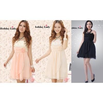 全3色 上品 胸元バラ ハイウエスト スリム効果 シフォン ドレス ワンピース