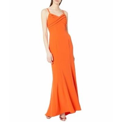 アドリアナ パペル レディース ワンピース トップス Pleated Mermaid Gown Neon Tangerine