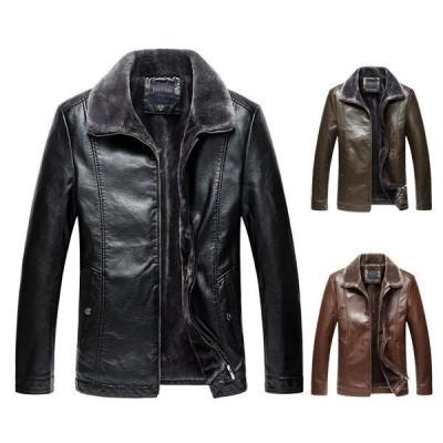 皮のコート 裏起毛 メンズ 大きいサイズ 革ジャン レザージャケット 毛皮コート 革ジャケット アウター 防寒着 2021秋冬