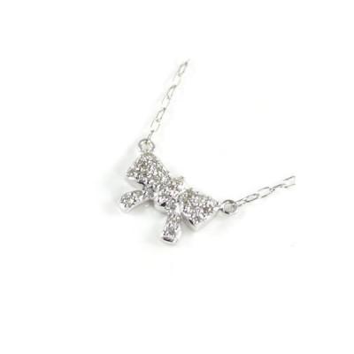 Brand Jewelry me. K10ホワイトゴールド ダイヤモンド ペンダント ネックレス リボン 安い【今だけ代引手数料無料】