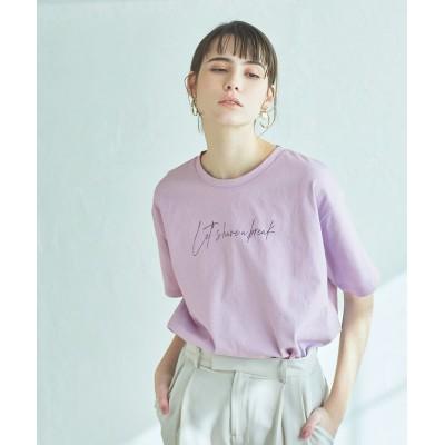 【ティティベイト】 ロゴプリント半袖Tシャツ レディース ライト パープル F titivate