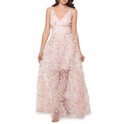 エスケープ ワンピース トップス レディース 3D Floral V-Neck Gown Blush