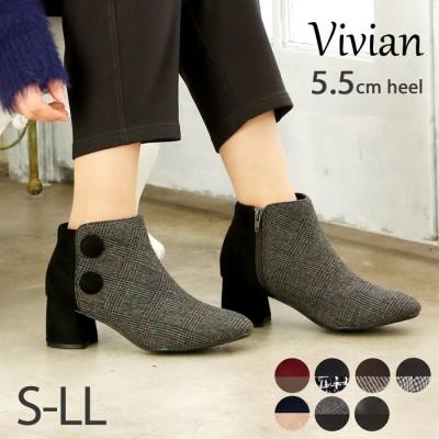 VIVIAN COLLECTION 5.5cmチャンキーヒールサイドボタン付きショートブーツ ブラック 22.0cm レディース