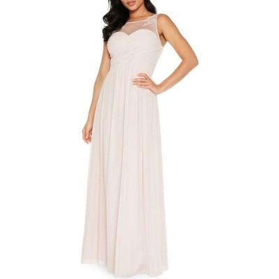 クイズ QUIZ レディース パーティードレス ノースリーブ ワンピース・ドレス sleeveless embellished gown ピンク