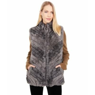 ラブトークン コート アウター レディース Sandra Faux Fur Vest Charcoal Combo