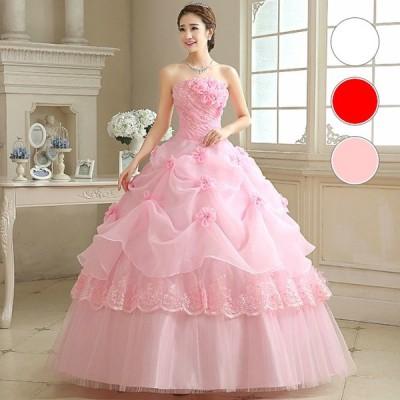 ウエディングドレス 3色 カラードレス ロングドレス ウェディングドレス 結婚式 花嫁 二次会 発表会 演奏会 ドレス 衣装 白 ホワイ 赤 レッド ピンク