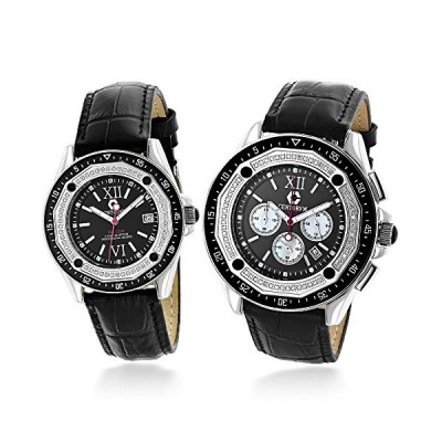 Matching His and Hers Watches: Centorum Diamond Watch Set in Black 1.05ct 並行輸入品