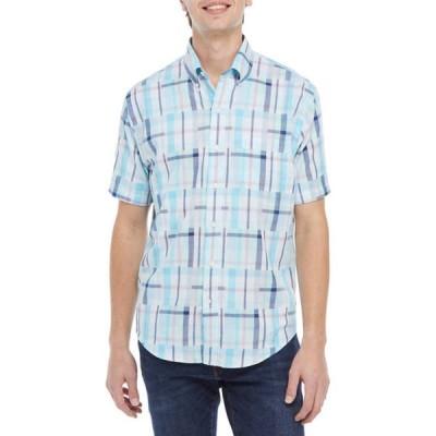 クラウン&アイビー メンズ シャツ トップス Short Sleeve Patchwork Woven Shirt