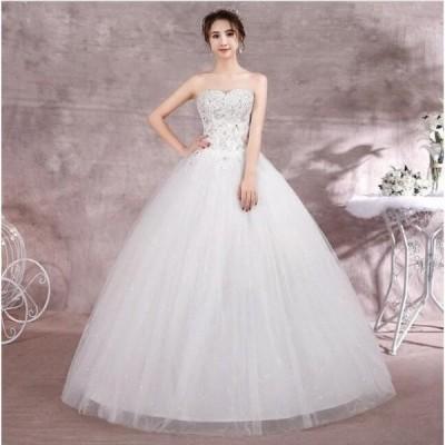冠婚 パーティードレス 綺麗 花嫁 お呼ばれ ロング丈ワンピース ワンピース 結婚式 大きいサイズ プリンセスライン ウエディングドレス