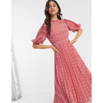 エイソス レディース ワンピース トップス ASOS DESIGN high neck pleated chevron dobby midi dress with puff sleeve in tea rose Tea