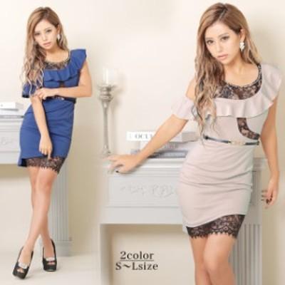キャバ ドレス ワンショル風 ヌーディー レース タイト ミニ ドレス | ドレス キャバ キャバドレス 大きいサイズ ドレス ワンピース ミニ