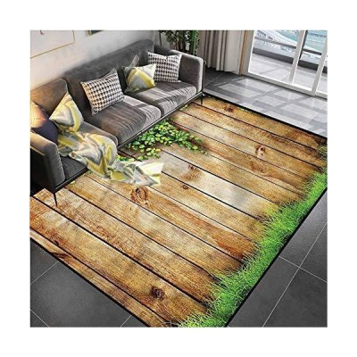 "Area Rug Rugs Print Large Floor Mat Rustic,Wooden Garden Fence Desk Chair mat for Carpet for Kids Yoga Living Room Home Decor Rugs 4'7""x6'6""並行輸"