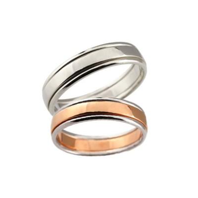 結婚指輪 安い ペアリング 結婚指輪 プラチナ マリッジリング 結婚式 地金リング ピンクゴールドk18 ホワイトゴールドk18 宝石なし コンビ 18金 カップル