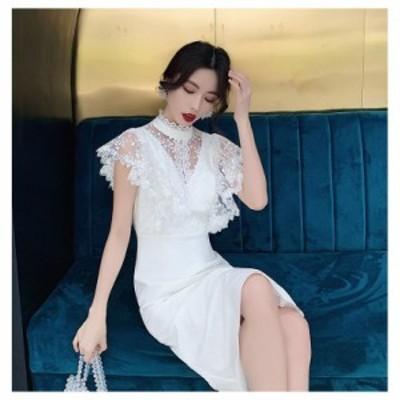 ウエディングドレス マーメイドドレス パーティードレス 10代 20代 30代 40代 ワンピース 披露宴 ミモレ丈ドレス 上品 お呼ばれ キャバド