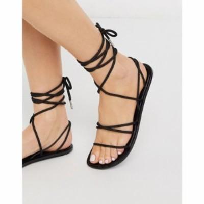 エイソス ASOS DESIGN レディース サンダル・ミュール シューズ・靴 False Start sporty tie leg jelly sandal in black ブラック