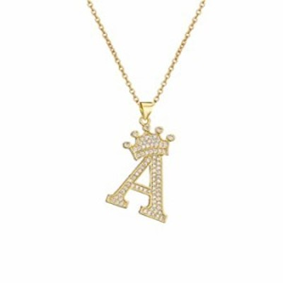 "cmoonry A-Z Crown Initial Necklace for Men Women 14K Gold Plated Iced Out Monogram Pendant with 18"" Chain+2""(Extended) DIY Name"