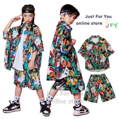韓国 子供服 ヒップホップ キッズ ファッション通販 女の子 男の子 演出服 ステージ衣装 派手 ダンス衣装 キッズ 白タンクトップ 花柄シャツ パンツ おしゃれ