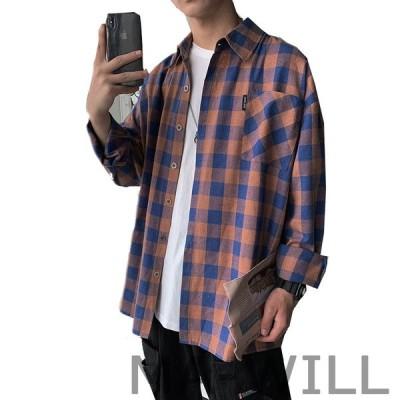 シャツ メンズ 長袖 チェック柄 大きいサイズ ワイシャツジャケット コットンカジュアル オシャレビジネス カジュアル デザイン