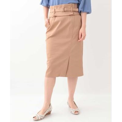 【オフオン】 サッシュベルト付きタイトスカート レディース ベージュ M OFUON