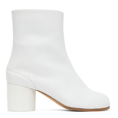 新作SALE♪Maison Margiela メゾンマルジェラ Tabi 足袋 ミッドヒールカーフレザーブーツ ホワイト