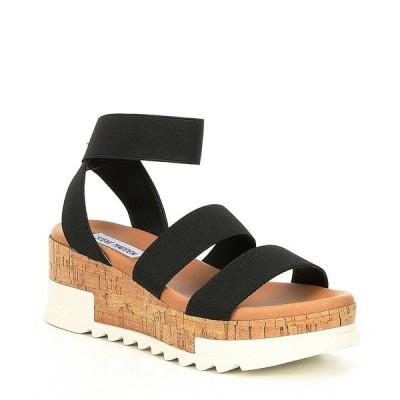 スティーブ マデン レディース サンダル シューズ Bandi Elastic Cork Flatform Sandals Black