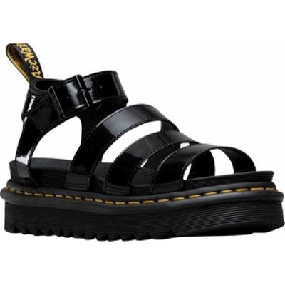 ドクターマーチン レディース サンダル シューズ Women's Dr. Martens Blaire Strappy Sandal Black Patent Lamper Leather